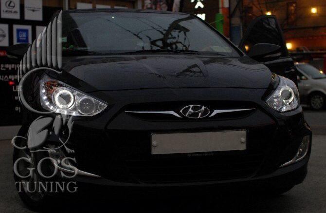 R05-0048 Фары Hyundai Solaris Chrome Angel Eyes / Передняя оптика
